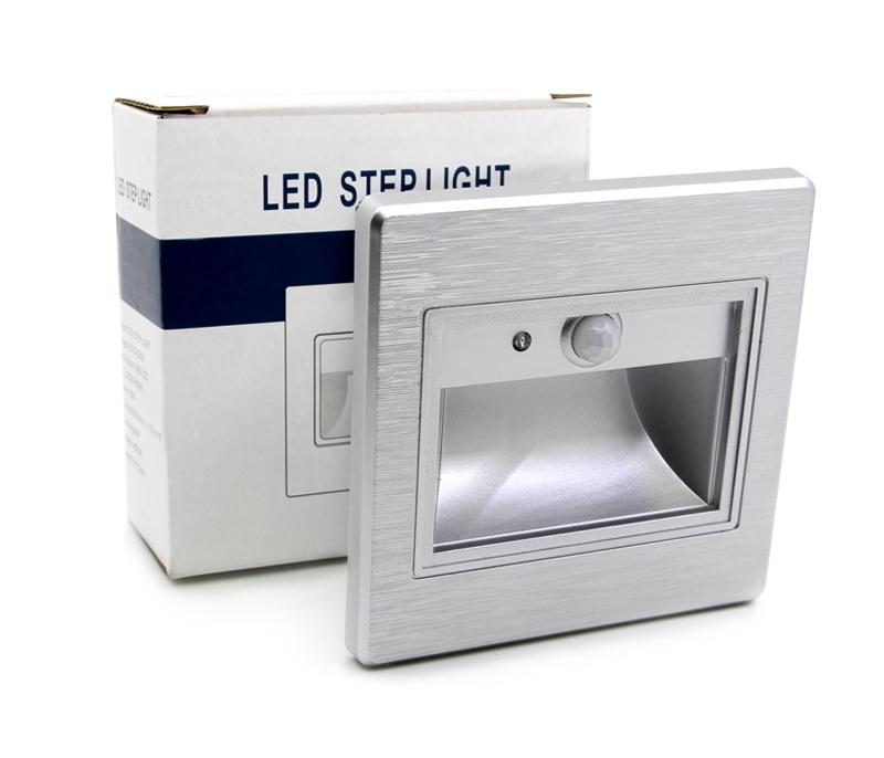led innen treppenbeleuchtung ir infrarot mit bewegungsmelder 1w leuchte silber 1x 5x 10x. Black Bedroom Furniture Sets. Home Design Ideas