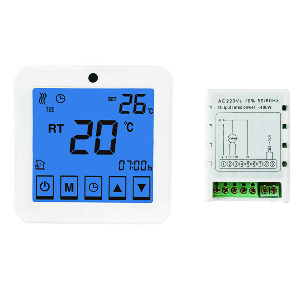 raumthermostat thermostat touchscreen wsk9c f r fu bodenheizung programmierbar. Black Bedroom Furniture Sets. Home Design Ideas
