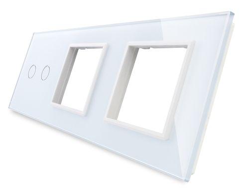 LIVOLO Nur Glasblende 3 Fach Glasrahmen Rahmen Glas VL-C7-C1//C1//C2-11-A Weiß